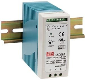 Power Supply 12 vdc din rail mount + din rail with battery charger circuit
