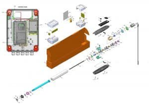 Vantage Sliding Gate Operator - parts and control panel diagram
